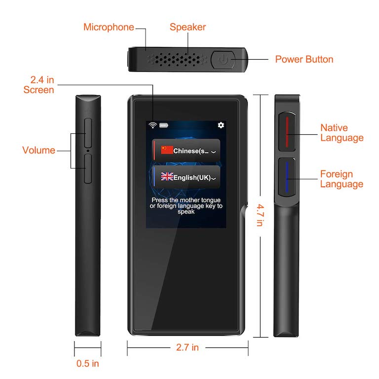 (AO-T6) Space grey with 82 Different Languages Pocket translator device